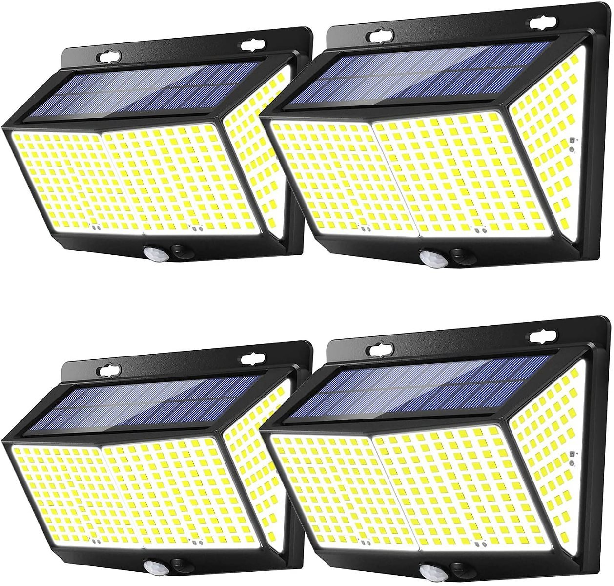 Solar Lights Outdoor 288 LED (4 Packs), Extra-Large, Exterior Wall Lights, Outdoor Solar Motion Sensor Lights with 3 Lighting Modes, 270° Wide-Angle Lighting, IP65 Waterproof