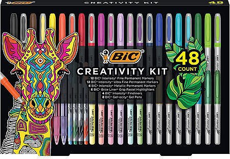 BIC Creativity Kit, Assorted Markers, Pens, Highlighters, Various Colors, 48ct