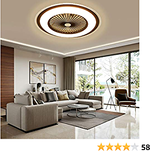 Ceiling Fan LED Fan Chandelier, 36 W, Ceiling Lighting, Dimmable with Remote Control, Dimmable Adjustable Wind Speed, Modern Bedroom (Brown)