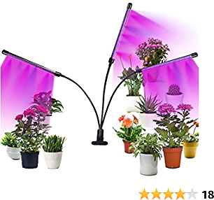 CPROSP Grow Light for Indoor Plants with Adapter, 30W Tri Head Timing 60 LED 5 Dimmable Levels Full Spectrum, Adjustable Gooseneck, 3 6 12H Timer