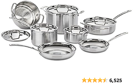 55% OFF Cuisinart MCP-12N Multiclad Pro Stainless Steel 12-Piece Cookware Set