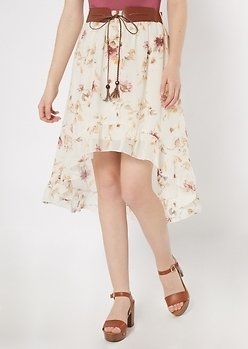Ivory Floral Print High Low Belted Ruffle Skirt | Girls | Rue21