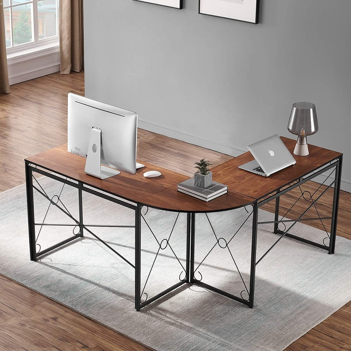VECELO L-Shaped Corner Computer Home Office Desk Work Station for Gaming/Study, Easy Assembly, Brown