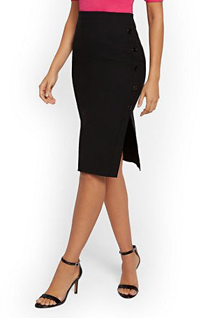 Whitney High-Waist Pull-On Pencil Skirt - Button-Accent - 7th Avenue