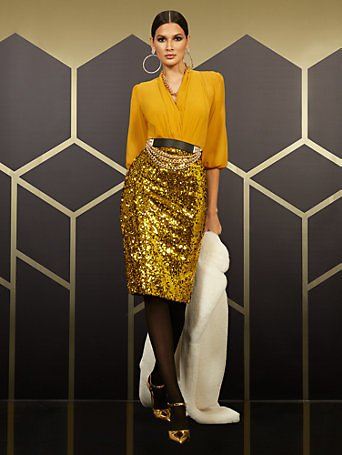 High-Waisted Gold Sequin-Front Skirt