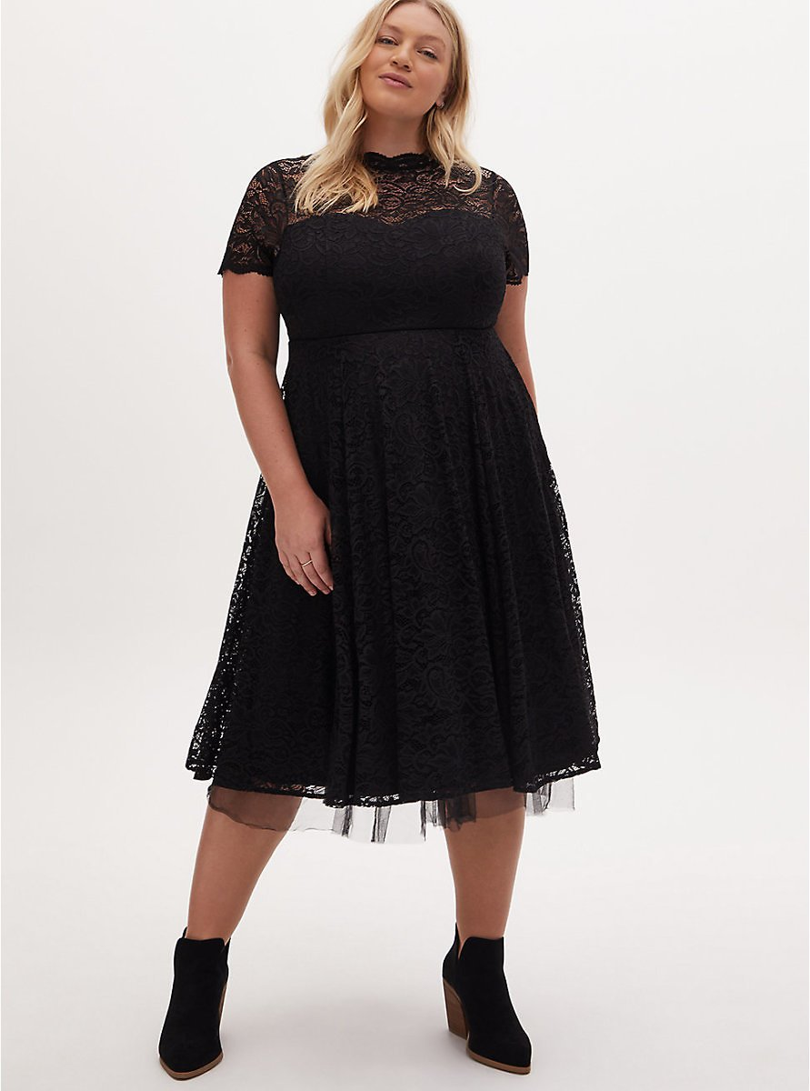 Special Occasion Black Lace & Tulle Midi Dress