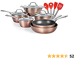 LovoIn 14 Pcs Non-Stick Cookware Sets, Marble Frying Pot and Pan Kitchenware Cooking New Version Hammered Cookware Set,Induction Dishwasher/Oven/Stovetop