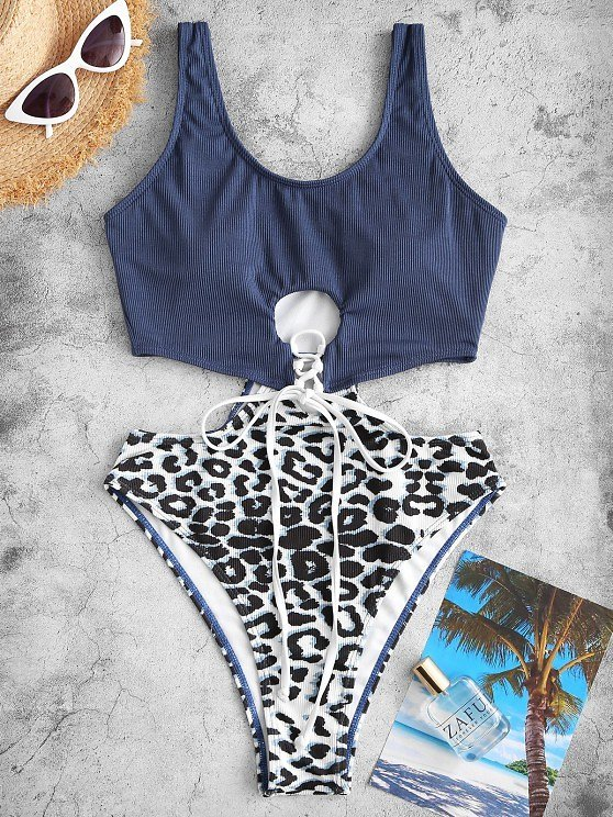 ZAFUL Ribbed Leopard Cutout One-piece Swimsuit BLACK LAPIS BLUE LIGHT COFFEE