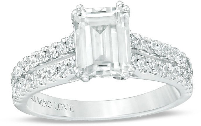 Vera Wang Love Collection 2 CT. T.W. Certified Emerald-Cut Diamond Engagement Ring in 14K White Gold (I/SI2)