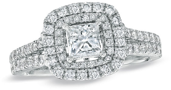 Princess-Cut Diamond Frame Split Shank Engagement Ring in 14K White Gold|Zales
