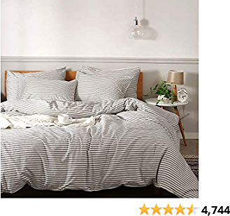 JELLYMONI 100% Natural Cotton 3pcs Striped Duvet Cover Sets,White Duvet Cover with Grey Stripes Pattern Printed Comforter Cover,with Zipper Closure & Corner Ties(King Size)