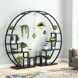 Couple 5-Tier Plant Stand Curved Display Shelf With Hooks
