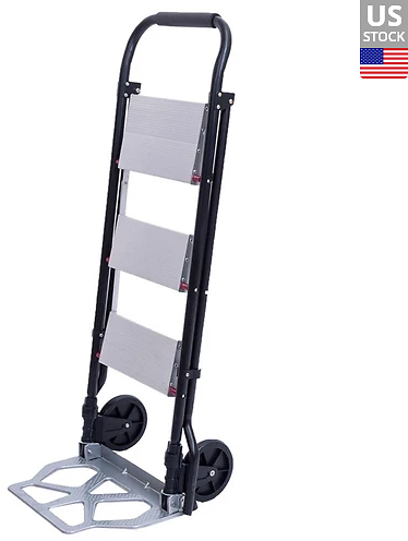 Folding Trolley Cart With Rolling Wheels Lightweight Convenient 2-in-1 3-Step Ladder