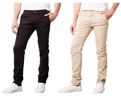 Galaxy By Harvic Men's 2 Pack Slim Fit Cotton Stretch Chinos