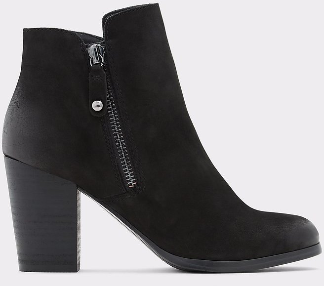 Naedia Black Leather Nubuck Women's Ankle Boots