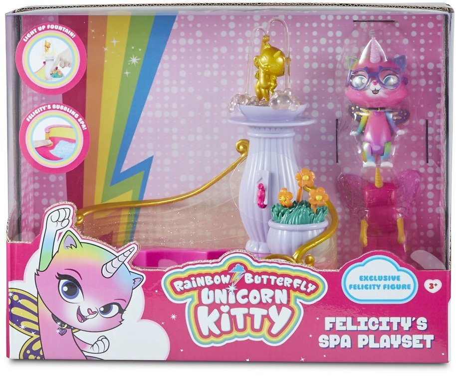 Rainbow Butterfly Unicorn Kitty - Felicity's Spa Playset