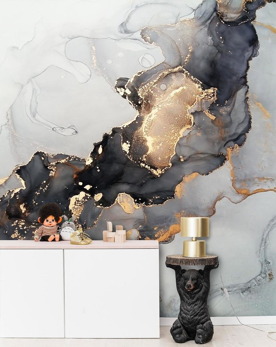Black Grey Gold Yellow Marble Design Wallpaper Peel And Stick Natural Stone Wall Mural, Living Room Stylish, Modern Wall Art, Easy Removable