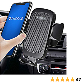 "[2021 Upgrade] ANDOLO Car Phone Holder Mount Air Vent Universal Hands-Free Cell Phone Holder for Car Anti-Shake Stabilizer Adjustable 2 Clip Cell Phone Holder Compatible with All 4-7"" Mobile Phones"