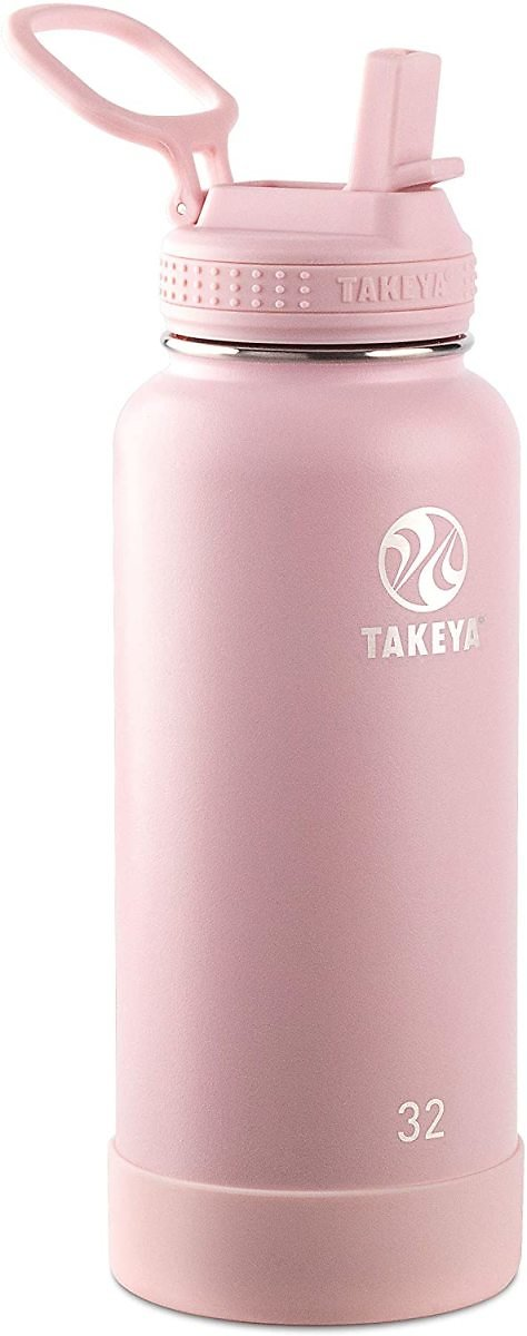 Takeya Actives Insulated Stainless Steel Water Bottle with Straw Lid, 32 Oz, Blush