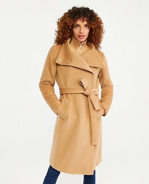 Petite Belted Funnel Neck Coat | Ann Taylor