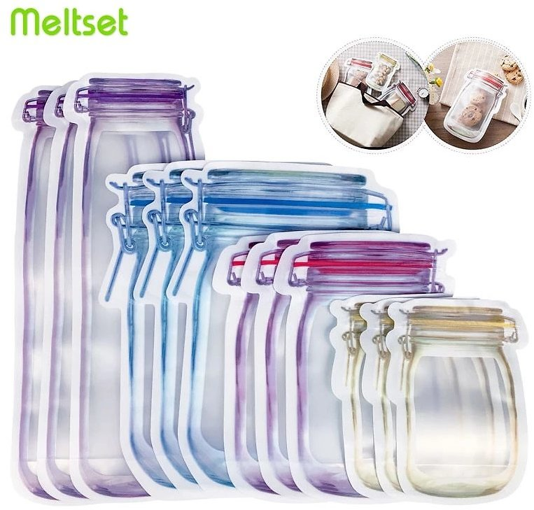 Reusable Mason Jar Bottles with Zip Lock