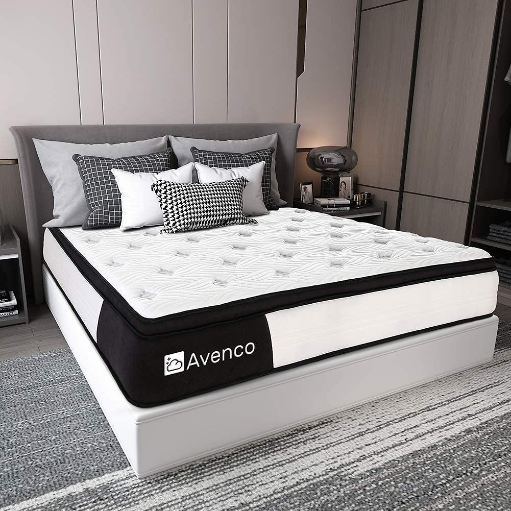 Full Size Mattress, Avenco Hybrid Mattress Full, 12 Inch Innerspring and Gel Memory Foam Mattress in a Box Full, with CertiPUR-US Foam for Supportive, Pressure Relief & Cooler, 10 Years Support