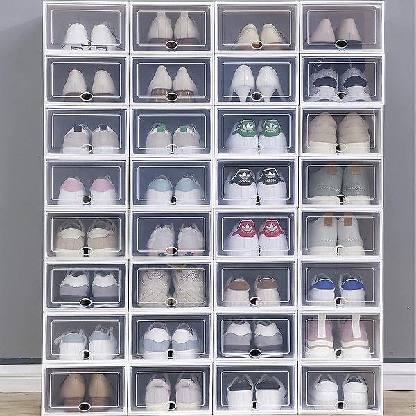 Clear Plastic Stackable Shoe Storage Boxes Shoe Pack - Set of 24