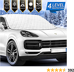 [2021 Newest] Car Windshield Snow Ice Cover with 4 Layers Protection, Windshield Snow Ice Cover with Magnetic Edges Used for Snow Protection, Rain and Sun, Fits for Most Standard Cars & SUV.