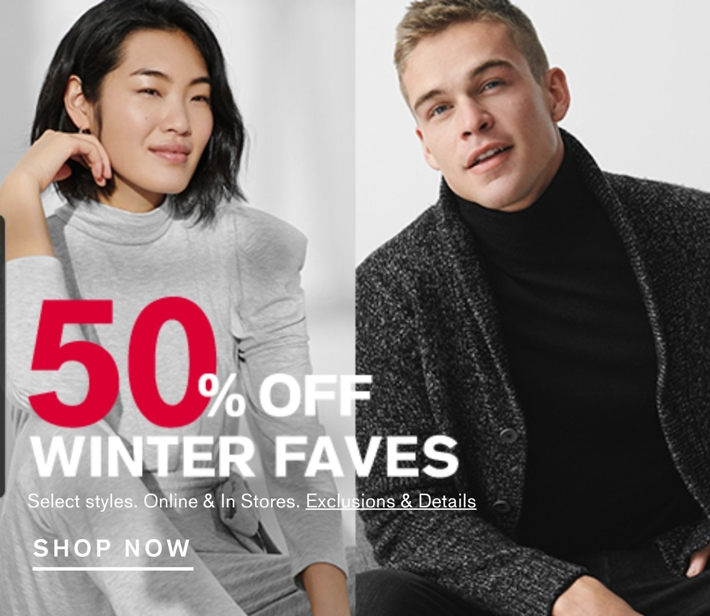 50% Off Select Styles Winter Faves - Express