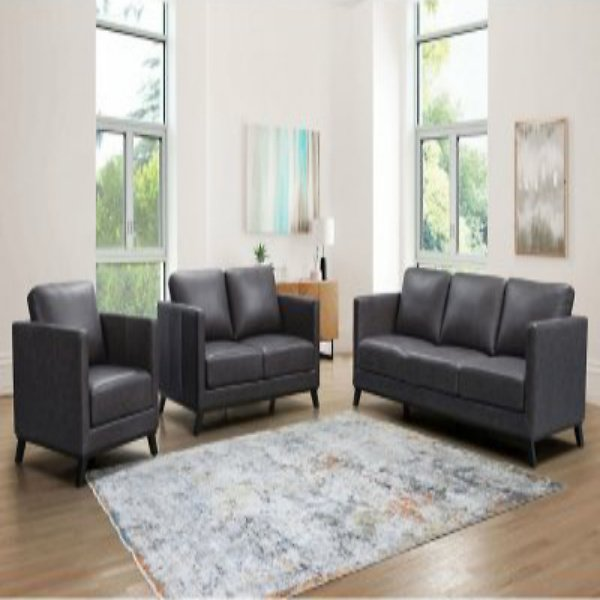 Madison Mid-Century Top-Grain Leather 3-Piece Set - Sofa, Loveseat and Armchair (Assorted Colors)