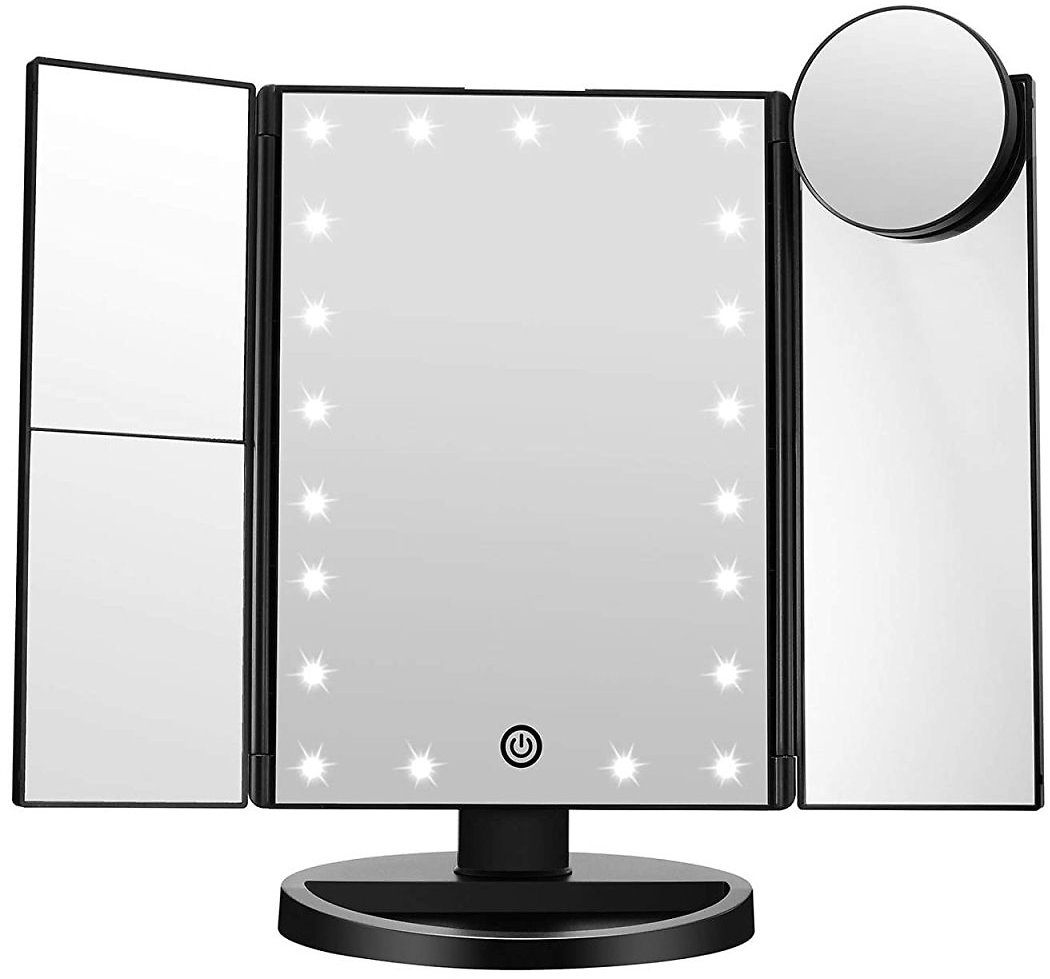 Trifold Vanity Mirror with LED Lights