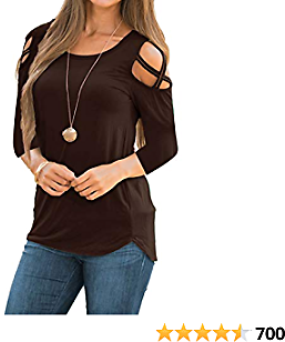 LIOFOER Womens 3/4 Sleeve Blouse Loose Strappy Cold Shoulder Tops