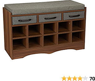 Household Essentials Entryway Shoe BenStorage Ch with Cushion and Drawers, Brown