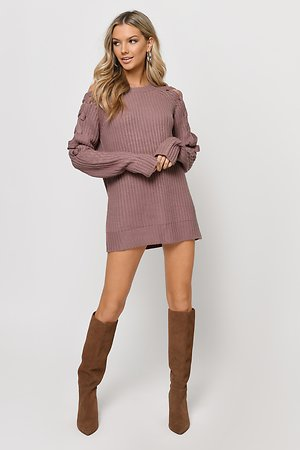 Miracle Mauve Lace Up Sweater