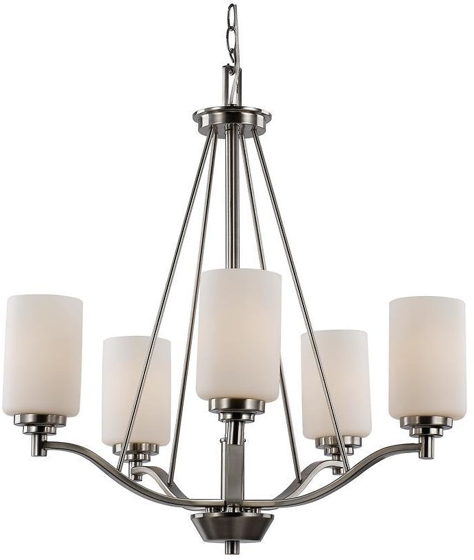 Bel Air Lighting 5-Light Brushed Nickel Incandescent Chandelier with Frosted Glass-70525 BN