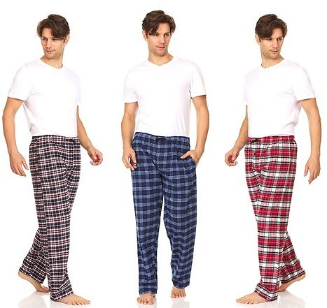 3-Pack Daresay Men's Cotton Super-Soft Flannel Plaid Pajama Pants/Lounge Bottoms with Pockets