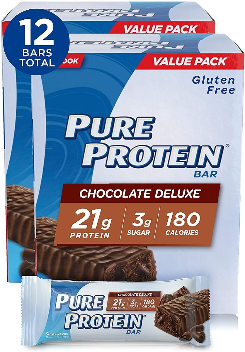 Pure Protein Bars, Low Sugar, Gluten Free, Chocolate Deluxe, 1.76oz, 6 Count (Pack of 2)