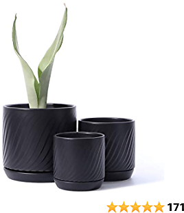 POTEY 053307 Plant Pots with Drainage Holes & Saucer - Glazed Ceramic Modern Planters Indoor Bonsai Container for Plants Flower Aloe(Set of 3-6.6 + 5.1 + 4.2 Inch, Matte Black, Plants Not Included)