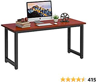 Homemaxs Computer Desk 55-inch Large Home Office Desk Computer Table Study Writing Desk - Teak