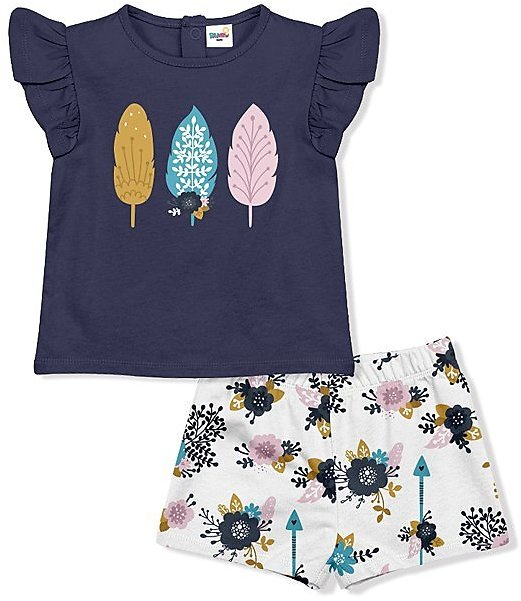 Navy Feather Angel Sleeve Tee & Floral Shorts - Infant & Toddler