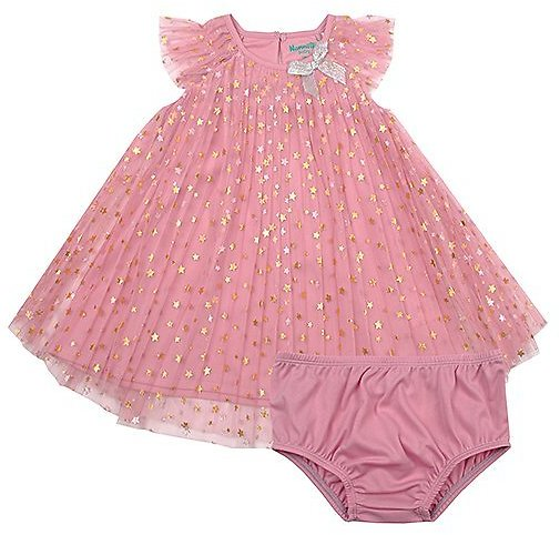 Pink & Gold Foil Pleated A-Line Dress & Briefs - Newborn & Infant