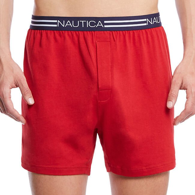 Red Solid Knit Boxers