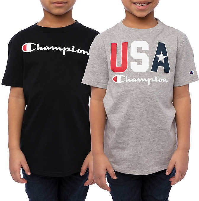 Champion Youth 2-pack Short Sleeve Tee, Black and Gray