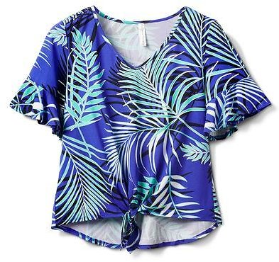 Summertime Palm Print Tie Front Knit Top