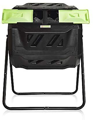 Large Compost Tumbler Bin -Outdoor Garden Rotating-Dual Compartment