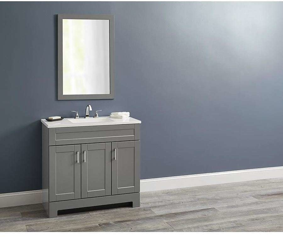 Style Selections 36-in Dark Gray Single Sink Bathroom Vanity with White Cultured Marble Top (Mirror Included) Lowes.com