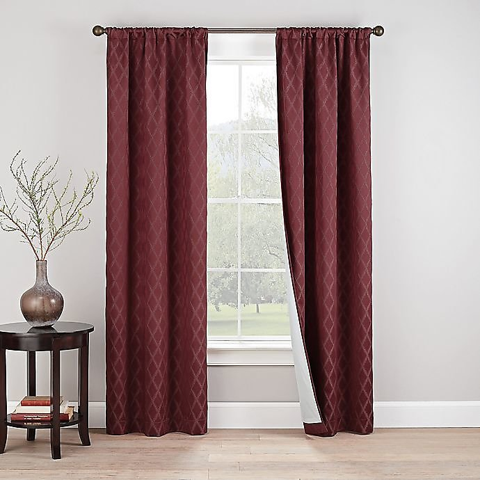 Eclipse Godfrey 2-Pack 84-Inch Rod Pocket 100% Blackout Window Curtain Panels in Berry