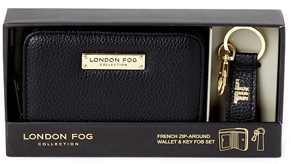 London Fog Miele French Vegan Leather Zip-Around Wallet & Key Fob Set