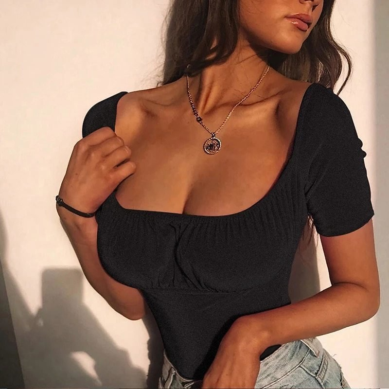 Women Sexy Velvet Crop Tee Tops Lady Girls Sim Fit Fashion Cropped T-Shirts Top Party Clubwear Low Neck T-Shirts