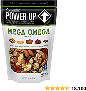 Power Up Trail Mix, Trail Mix, Non-GMO, Vegan, Gluten Free, No Artificial Ingredients, Gourmet Nut, Bag, Green, Mega Omega, 14 Oz (Pack of 1)